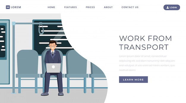 Work from transport landing page template