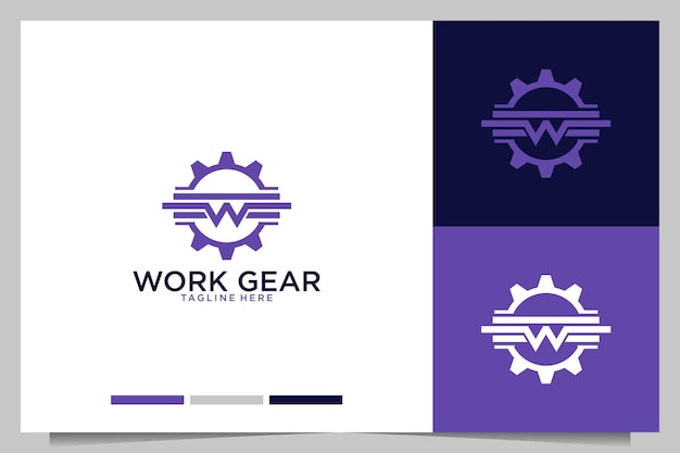 Work gear with letter w logo design