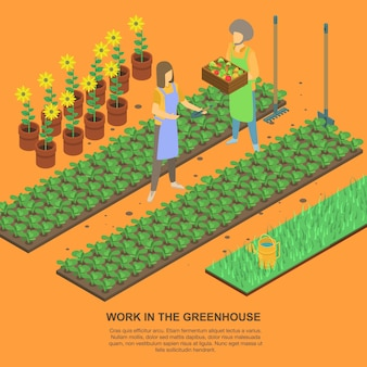 Work in greenhouse banner, isometric style