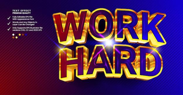 Work hard font effect
