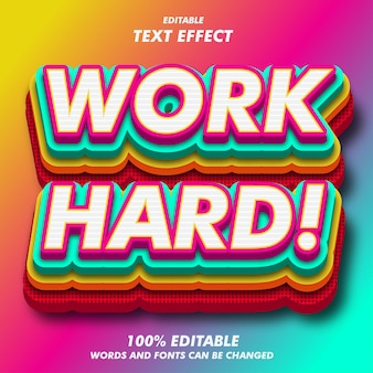 Work hard! text effects