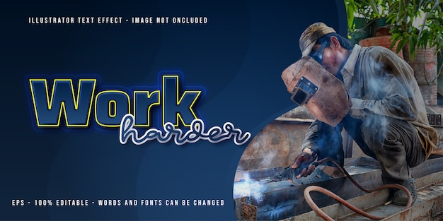 Work harder banner template with editable text effect