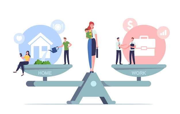 Work and home balance concept. tiny characters balancing on huge scales with basic values. woman separated on two halves as housewife with child and businesswoman. cartoon people vector illustration