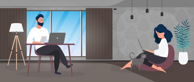 Work at home banner. the girl sits on a large pouf and works at a laptop. the guy sits at the table working on the computer. vector.