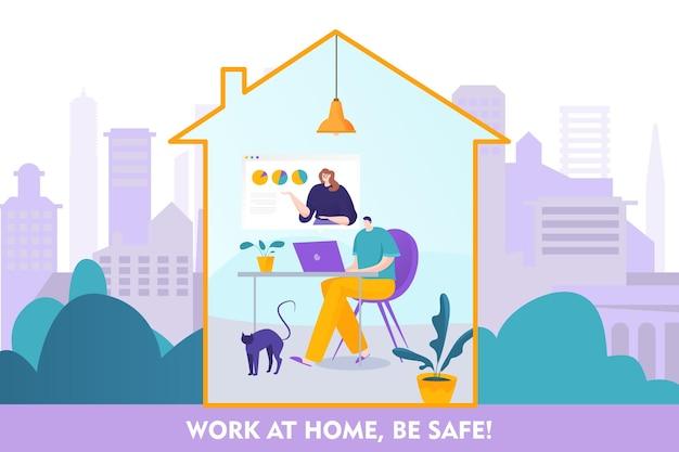 Work at home be safe online concept illustration