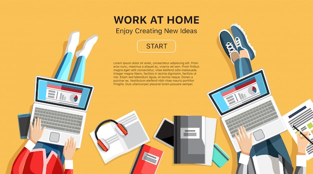 Work at home business banner with people