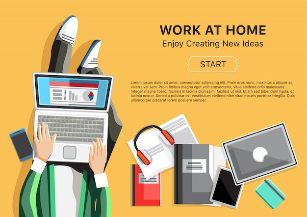 Work at home concept with man