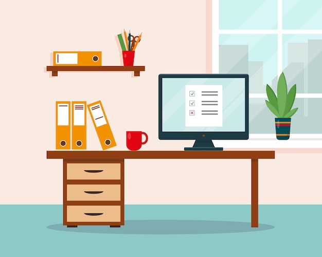 Work at home concept. workplace with desk and computer. home office, freelance or online working