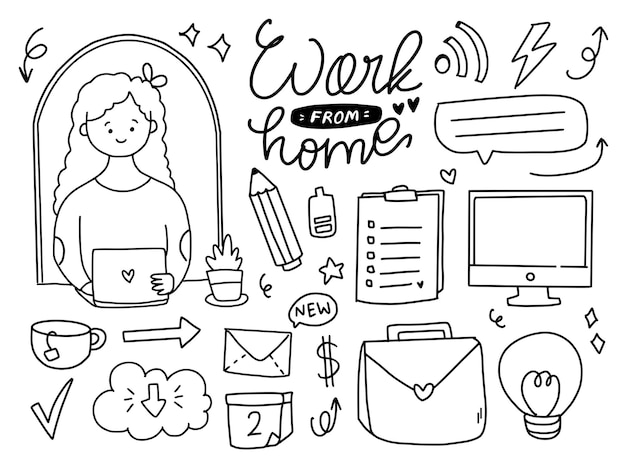 Work at home doodle drawing items collection set in line style