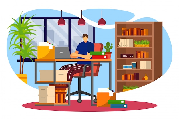 Work at home, freelance, young adult woman working at laptop in internet  illustration. freelancer female character worker at home office. remote work. cosy interior with book shelves.