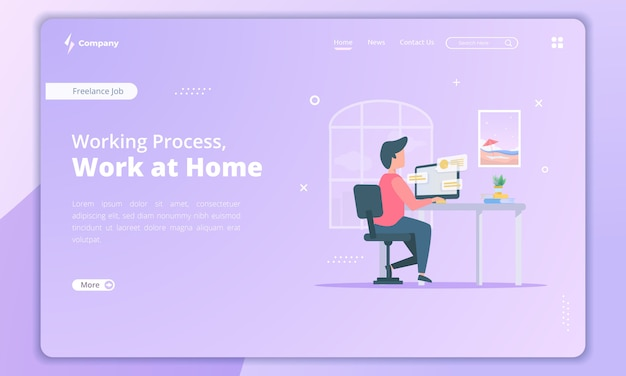 Work at home illustration for freelancer concept on landing page template
