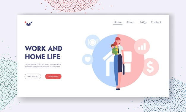 Work and home life landing page template. woman character separated on two halves as housewife with child and businesswoman choosing between family and child or career. cartoon vector illustration