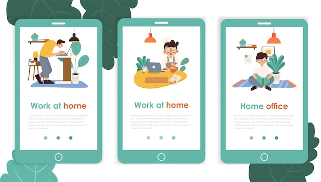 Work at home mobile template