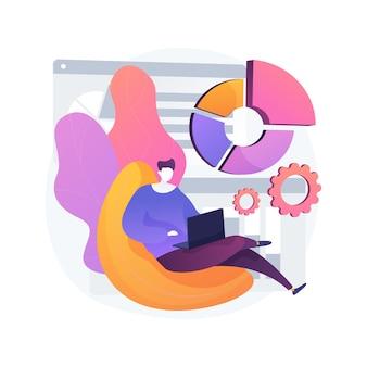 Lavoro home office concetto astratto illustrazione vettoriale. scrivania virtuale online, lavoro a distanza in quarantena, lavoro d'ufficio da casa, strumento di gestione della comunicazione, metafora astratta della riunione digitale del team.