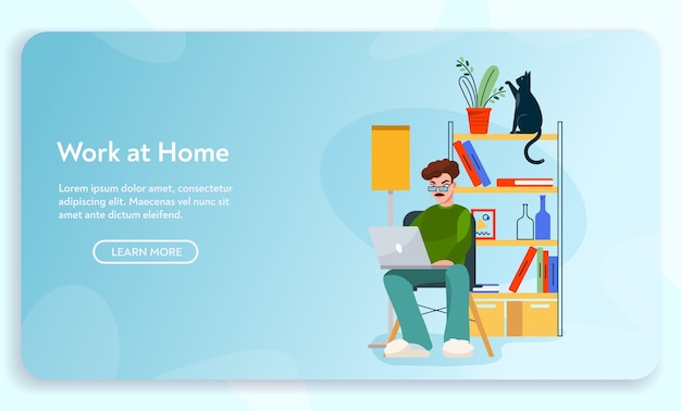 Work at home. remote worker man sits at desk, working at laptop. home office interior design, comfy workplace, freelancer landing design template
