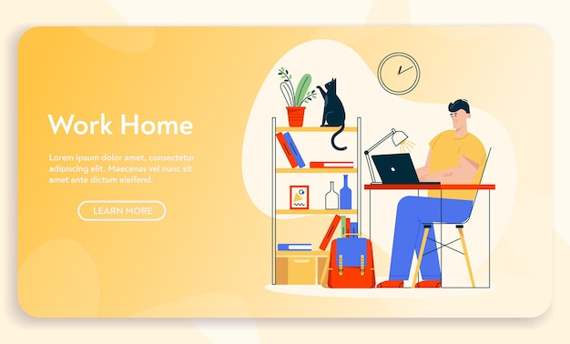 Work at home. remote worker man sits at desk, working at laptop. home office interior design, comfy workplace