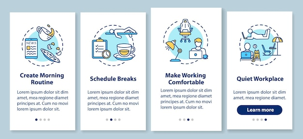 Work at home rules onboarding mobile app page screen with concepts. schedule, comfortable and quiet workplace walkthrough 4 steps graphic instructions. ui vector template with rgb color illustrations