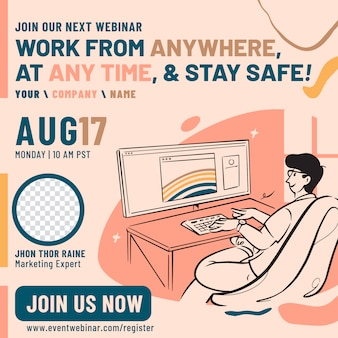 Work at home webinar event poster design template