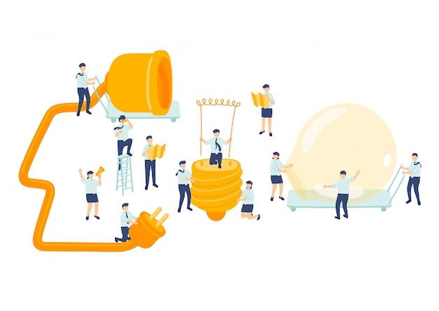 Идея работы сотрудник управление командой, миниатюрная сборочная команда люди делают лампочку бизнес-концепция метафора плакат или социальный баннер дизайн иллюстрация, изолированных на белом фоне