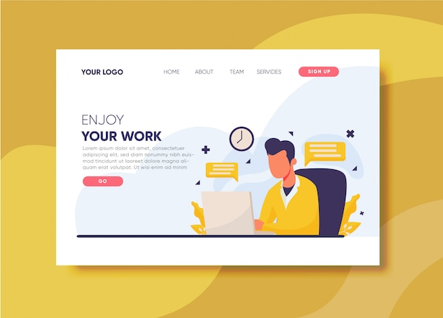 Work illustration for landing page template
