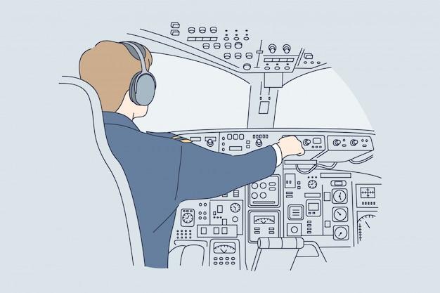Work, industry, transportation, flight concept