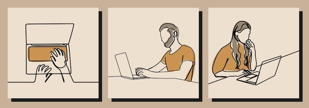 Work on laptop man and woman one line art vector ilustration
