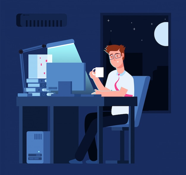 Work late concept man at night in office with pile of paper and laptop business background
