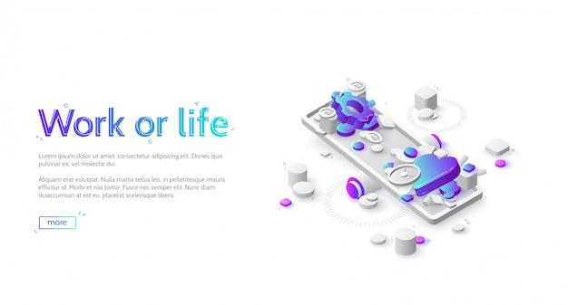 Work or life balance isometric landing website