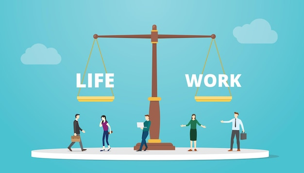 Work life balance on scale concept with modern flat style vector illustration