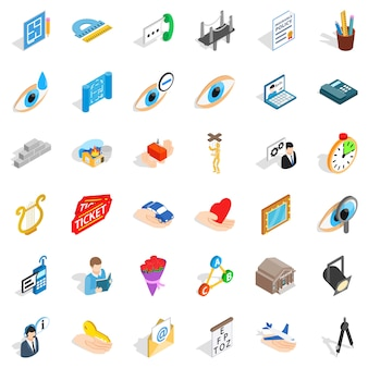 Work man icons set, isometric style