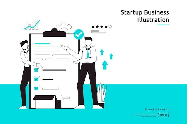 사업가 및 체크리스트 삽화를 사용한 작업 관리 작업 및 비즈니스 계획 개념. 스타트업 런칭 및 투자 벤처. 팀워크 은유 디자인 웹 방문 페이지 또는 모바일