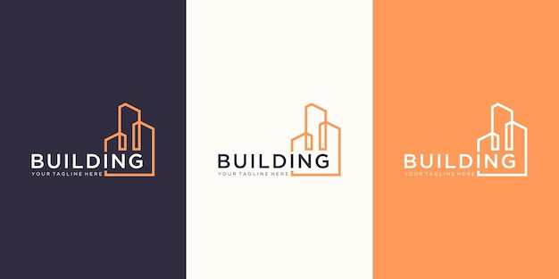 Work mark real estate logo design with line art style