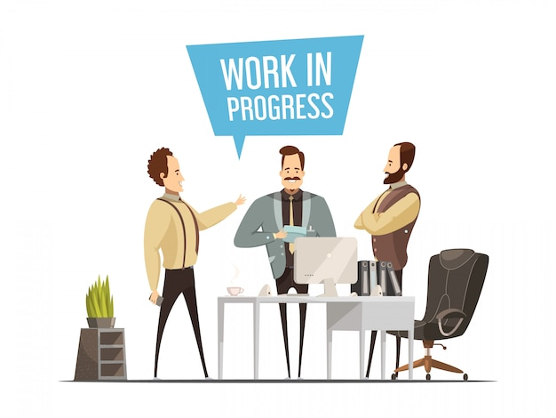 Work meeting design in cartoon style with standing men around office table during communication vect