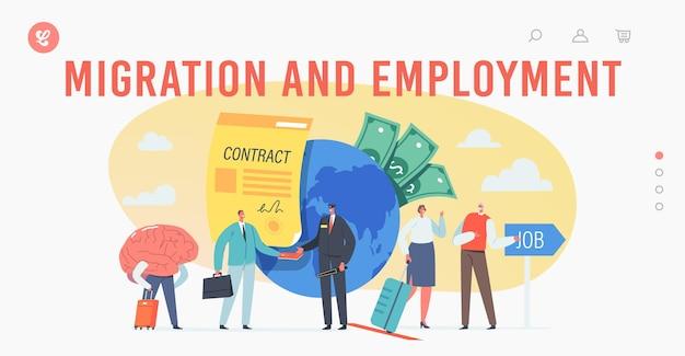 Трудовая миграция и трудоустройство, шаблон целевой страницы для слива мозгов. персонажи крошечных бизнесменов покидают родину, люди исследуют возможности трудоустройства в чужой стране. векторные иллюстрации шаржа