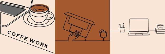 Работа на ноутбуке с кофе oneline art премиум векторы