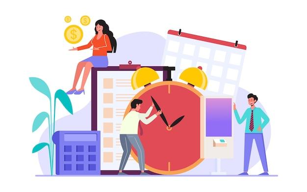 Работа вовремя и запланированное рабочее время эффективно плоский дизайн иллюстрации
