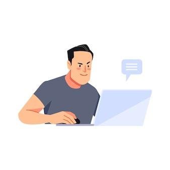 집에서 온라인으로 작업하세요. 거실에서 집에서 노트북을 사용 하여 웃는 남자.