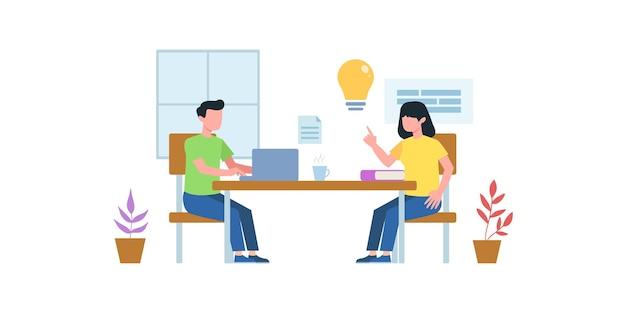 작업 또는 연구 회의 평면 그림. 토론하는 남녀