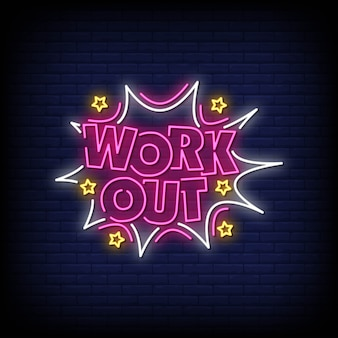 Work out neon signs style text