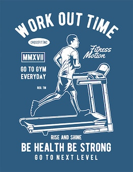 Work out time treadmill illustration design