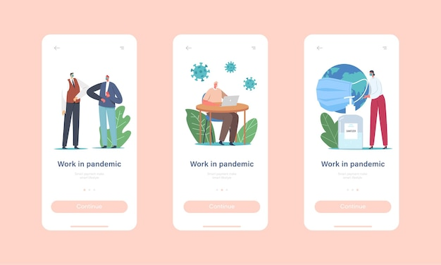 Work in pandemic mobile app page onboard screen template. office characters in medic masks work in office on distance, use sanitizers, greeting with elbows concept. cartoon people vector illustration