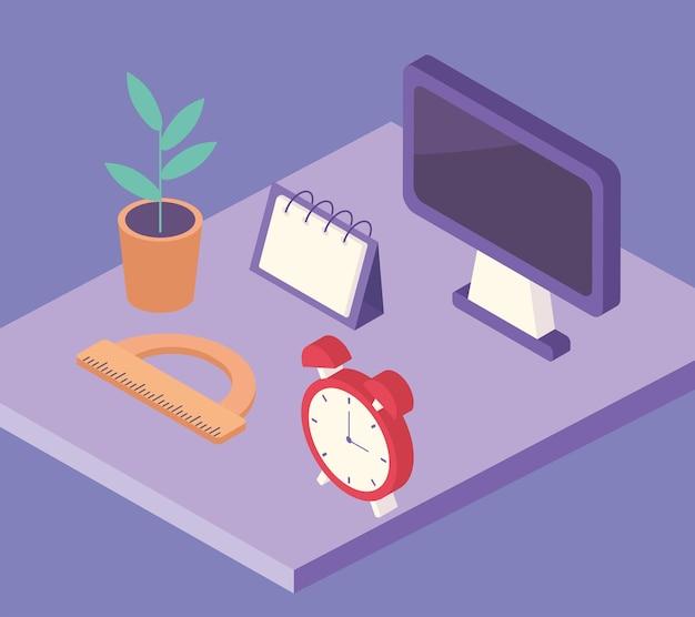 Work place equipment elements in desk illustration