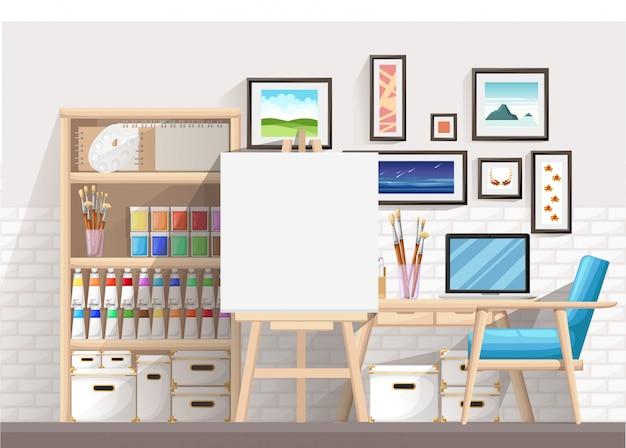 Рабочее место дизайнера-иллюстратора и художника с мольбертом и многими другими художественными материалами. арт-рабочий процесс. плоский дизайн иллюстрация