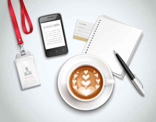 Work place top view with cappuccino smart phone and stationery on light realistic illustration