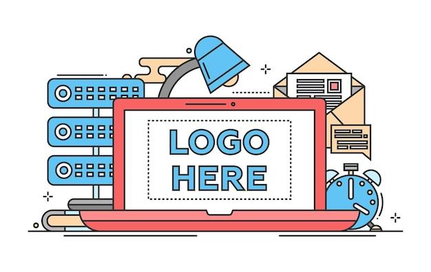 Место работы - векторная иллюстрация современного плоского дизайна с copyspace для вашего логотипа. ноутбук, лампа, часы, почта, сервер