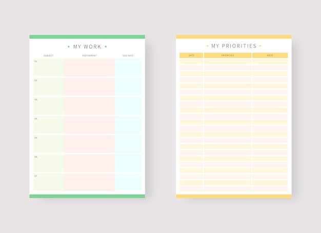 Work and priorities planner template set of planner and to do list