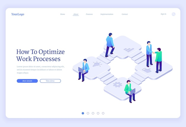 Work process optimization isometric landing page business productivity cooperation marketing strategy development business people on stairs shaking hands working on laptop d  web banner