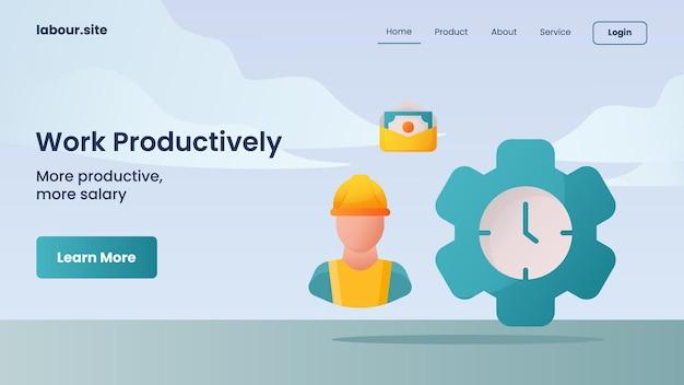 웹 사이트 홈 홈페이지 방문 페이지 템플릿을 위한 생산적인 캠페인 작업
