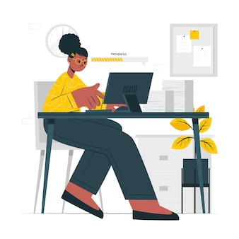 Illustrazione del concetto di lavoro in corso
