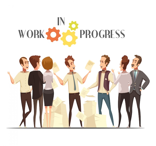 Work in progress concept with meeting and creative thinking symbols cartoon vector illustration
